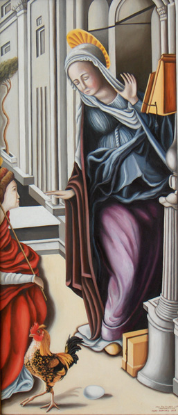 Judy's Rooster Hen- The Annunciation (after Felippo Lippi)
